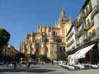 Segovia cathedral and cafes
