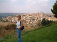 Fiona overlooking Old Toledo from the Paradore
